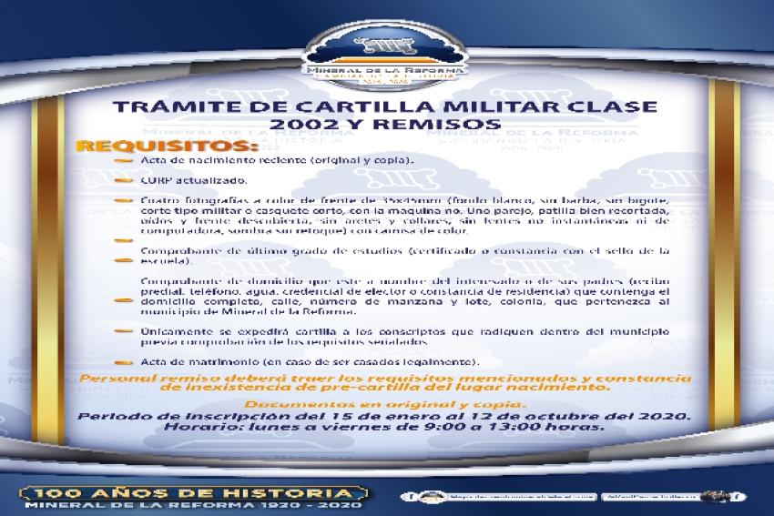 ALISTA MINERAL DE LA REFORMA SORTEO PARA SERVICIO MILITAR NACIONAL 2020