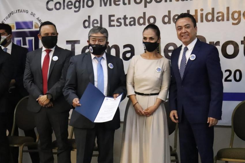 Rinde protesta al nuevo consejo directivo 2020-2021 del Colegio Metropolitano de Arquitectos del Estado de Hidalgo,